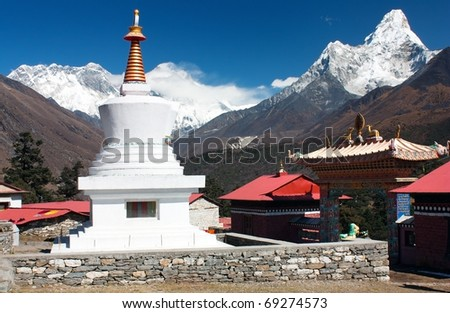 Ama Dablam Lhotse and top of Everest from Tengboche - stock photo