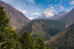 Ama Dablam mountain peak, most famous peak in Everest base camp trekking route, Himalaya mountains range in Nepal, Asia