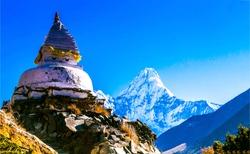 Ama Dablam mountain temple in Nepal