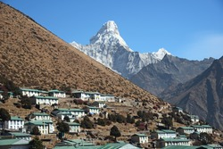 Ama Dablam overlooking the village of Khumjung.