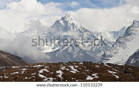 Ama Dablam peak - view from Cho La pass, Sagarmatha National park, Everest region, Eastern Nepal. Ama Dablam (6858 m) is one of the most spectacular mountains in the world and a true alpinists dream