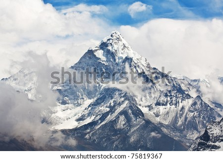 Ama Dablam peak - view from Cho La pass, Sagarmatha National park, Everest region, Eastern Nepal. Ama Dablam (6858 m) is one of the most spectacular mountains in the world and a true alpinists dream.