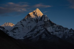 Ama Dablam Sunset scene Everest base camp trek When we go back from Loboche pass Dukla for stay over night at Pheriche village We can see Mount Ama Dablam with sunset scene