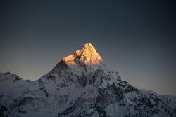 Amadablam peak at sunset in Khumbu valley in Nepal, Himalayas