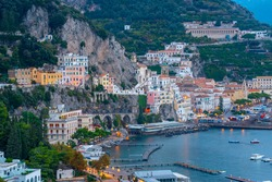Amalfi cityscape on coast line of mediterranean sea, Italy