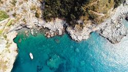 Amalfi coast landscape sea and clouds at morning blue sky