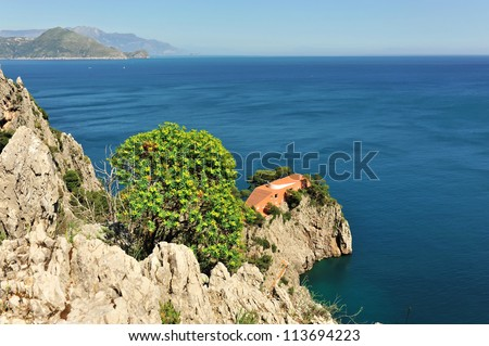 Amalfi coast seen from Capri - stock photo