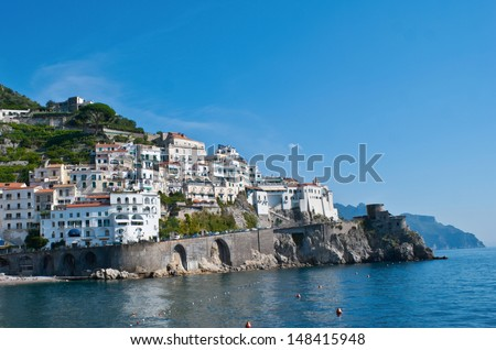 Amalfi occupied a high position in medieval architecture, you can see the fortress wall with small towers. Italy