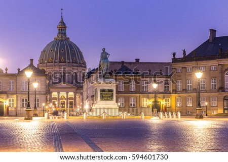 Amalienborg, royal danidh family resident, with town square in Copenhagen denmark #594601730