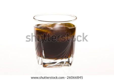 amaretto cola drink with orange and lemon ice cubes