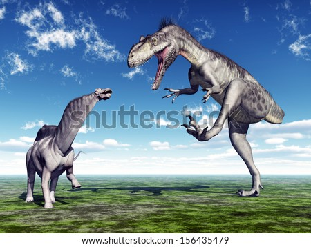 Amargasaurus and Megalosaurus Computer generated 3D illustration