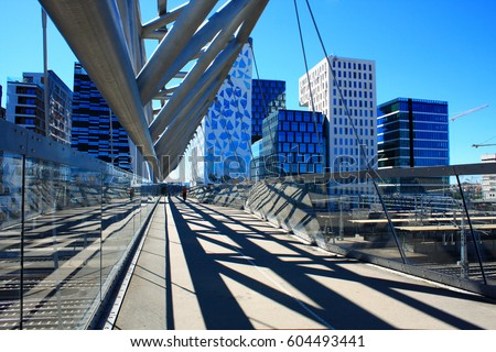 Amasing Akrobaten pedestrian bridge in Oslo, Norway