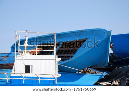 Amassed blue ships about to be destroyed Photo stock ©