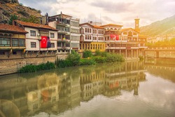 Amasya Turkey landscape beautiful reflections on river sunshine with old ottoman houses Turkey. With tower clock is best touristic destination of Amasya city in northern Turkey.