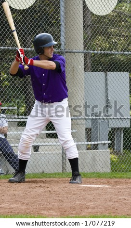 Amateur baseball player in action