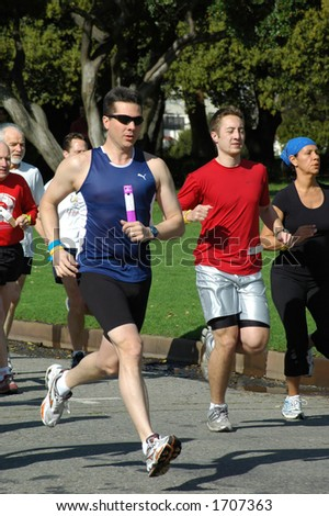 Amateur runners in a road race