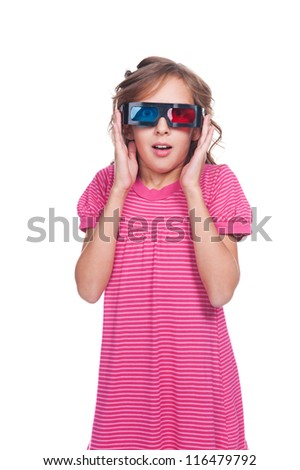 amazed little girl in 3d glasses. isolated on white background