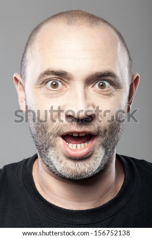 amazed man portrait isolated on gray background