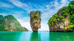 Amazed nature scenic view landscape James bond island Phang-Nga bay, Attraction famous popular landmark tourist travel Phuket Thailand summer vacation trip, Tourism beautiful destination place Asia