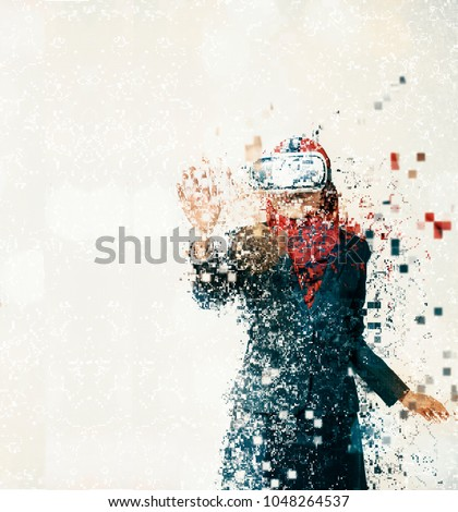 Amazed young women wearing virtual reality goggles over abstract background Foto stock ©
