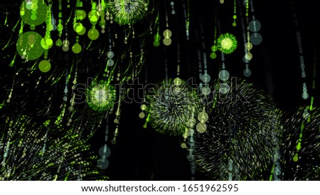 Amazing abstract animation of bright neon patterns from particles exploding on black background. Animation. Abstract blasts of digital neon fireworks stock photo