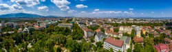 Amazing aerial panorama from a drone of city Sofia, Bulgaria