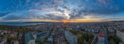 Amazing aerial panoramic view of sunset over the city Varna, Bulgaria.