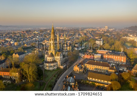 Amazing aerial view drone Cork City center Ireland Irish landmark downtown building St Fin Barre's Cathedral sunrise morning Photo stock ©