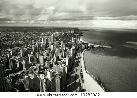 Amazing aerial view of chicago skyline