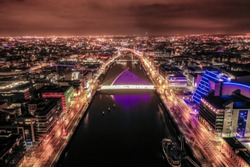 Amazing aerial view of Dublin City at Sunrise.