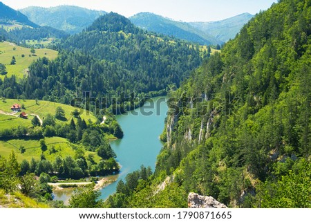 Amazing aerial view of national park Tara, Zaovine and Perucac lake and canyon of Drina river in Serbia  Stock photo ©