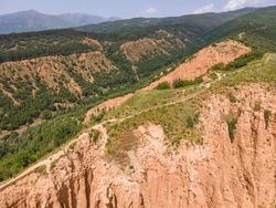 Amazing Aerial view of rock formation Stob pyramids, Rila Mountain, Kyustendil region, Bulgaria
