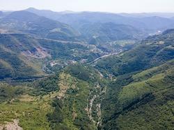 Amazing Aerial view of Stara Planina Mountain near village of Zasele, Bulgaria