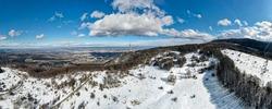 Amazing Aerial Winter view of Vitosha Mountain and city of Sofia, Bulgaria