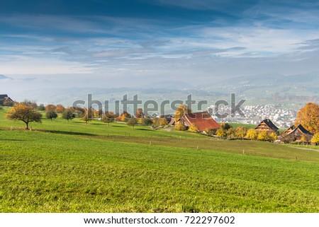 Amazing Autumn Landscape near mount Rigi and lake Luzerne, Alps, Switzerland #722297602