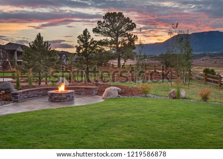 Amazing Backyard with Fire Pit #1219586878