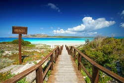amazing beach La Pelosa Stintino, Sardinia island, sunny spring day