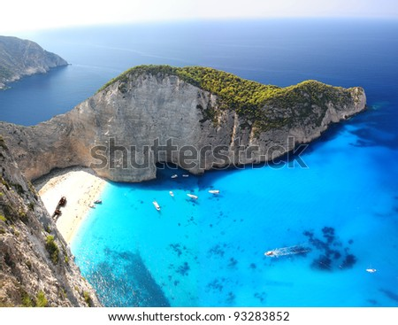 Amazing beach Navagio in Zakynthos, Greece - stock photo