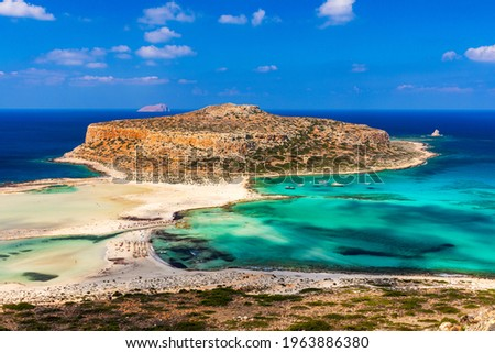 Amazing beach with turquoise water at Balos Lagoon and Gramvousa in Crete, Greece. Cap tigani in the center. Balos beach on Crete island, Greece. Landscape of Balos beach at Crete island in Greece.
