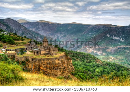 Amazing beautiful landscape. Old christianity unique church monastery Tatev. Armenia country. UNESCO World Heritage. Armenian showplace view. Architecture panorama in HDR photography.
