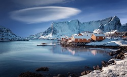 Amazing beautiful nature of Norway. landscape of Lofoten Islands. winter scenery with traditional fisherman Rorbues cabins in village of Sakrisoy. Norway. Iconic location for landscape photographers.