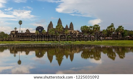 Amazing beautiful panorama reflection of Angkor Wat Temple at Angkor Wat Complex, Siem Reap, Cambodia