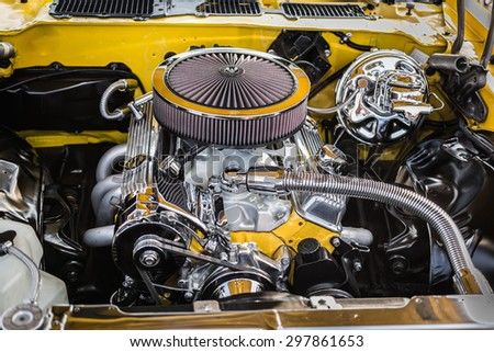 amazing beautiful, stunning closeup view of vintage classic retro car detailed engine parts