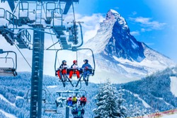 amazing beautiful view of Gornergrat, Zermatt, Matterhorn ski resort in Switzerland with cable chairlift transport
