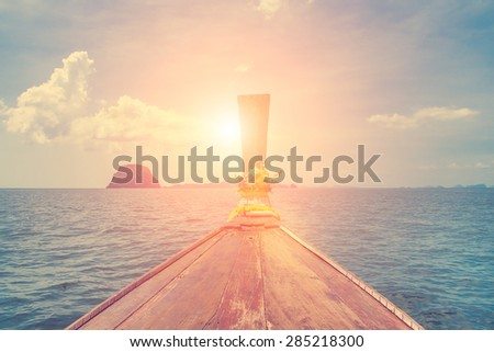Amazing beautiful view of the sea, boat and clouds
