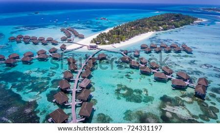 Stock Photo Amazing bird eyes view in Maldives