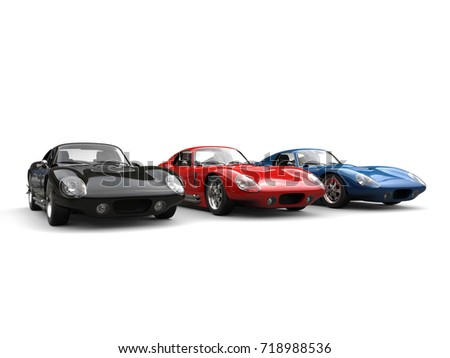 Amazing black, red and blue vintage sports cars - 3D Illustration #718988536