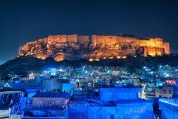 Amazing Blue city and Mehrangarh fort on the hill, Jodhpur, Rajasthan - India