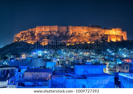 Amazing Blue city and Mehrangarh fort on the hill, Jodhpur, Rajasthan - India