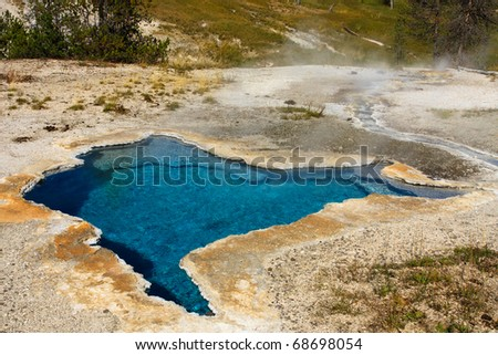Amazing blue color of the Blue Star Spring in Yellowstone National Park.